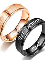 Недорогие -Для пары Кольцо Хвост 1шт Черный Розовое золото Нержавеющая сталь Круглый Винтаж Классический Мода Подарок Бижутерия Сердце Сердце