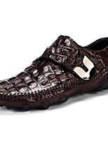 Недорогие -Муж. Кожаные ботинки Наппа Leather Весна лето / Наступила зима На каждый день Мокасины и Свитер Для прогулок Дышащий Черный / Винный / Кофейный