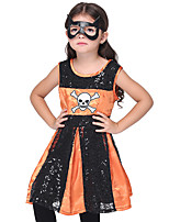 Недорогие -Пираты Косплэй Kостюмы Детские Девочки Хэллоуин Хэллоуин Фестиваль / праздник Полиэфир / полиамид Искусственная кожа Черный Карнавальные костюмы