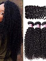 Недорогие -3 комплекта с закрытием Бразильские волосы Kinky Curly Натуральные волосы Необработанные натуральные волосы Головные уборы Человека ткет Волосы Удлинитель 8-20 дюймовый Естественный цвет