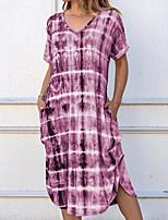 Недорогие -Жен. Оболочка Платье - Контрастных цветов До колена