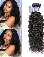 Недорогие -3 Связки Перуанские волосы Kinky Curly человеческие волосы Remy 100% Remy Hair Weave Bundles Человека ткет Волосы Удлинитель Пучок волос 8-28 дюймовый Нейтральный Ткет человеческих волос