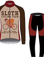 Недорогие -21Grams Животное леность Муж. Длинный рукав Велокофты и лосины - Черный / красный Велоспорт Наборы одежды Устойчивость к УФ Дышащий Влагоотводящие Виды спорта 100% полиэстер Горные велосипеды Одежда