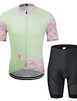 Недорогие -MUBODO Цветочные ботанический Муж. С короткими рукавами Велокофты и велошорты - Розовый Велоспорт Наборы одежды Дышащий Влагоотводящие Быстровысыхающий Виды спорта Тюль / Эластичная