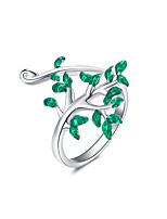 Недорогие -925 серебряная флеш рождественский лист серебряное кольцо кубик циркония женское оригинальное кольцо ювелирные изделия