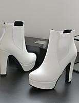 Недорогие -Жен. Ботинки На толстом каблуке Круглый носок Полиуретан Ботинки Лето Черный / Коричневый / Белый