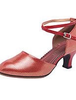 Недорогие -Жен. Танцевальная обувь Синтетика Обувь для латины Пайетки На каблуках Кубинский каблук Золотой / Пурпурный / Желтый