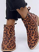 Недорогие -Жен. Ботинки На плоской подошве Круглый носок Замша Ботинки Наступила зима Цвет-леопард / Коричневый / Серый