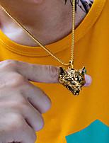 Недорогие -Муж. Ожерелья с подвесками С гравировкой Волк Массивный Modern Титановая сталь Золотой Серебряный 55 cm Ожерелье Бижутерия 1шт Назначение Подарок Школа Для улицы Для клуба обещание