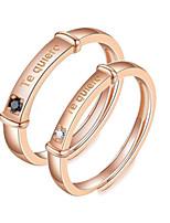 Недорогие -Для пары Кольца для пар Кольцо 1шт Золотой Розовое золото Медь Круглый Классический корейский Мода обещание Бижутерия Числа Буквы Милый