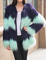 Недорогие -женская повседневная осенняя и зимняя куртка из искусственного меха, цвет блока без воротника с длинным рукавом из искусственного меха лоскутное одеяло