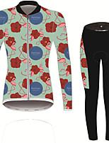 Недорогие -21Grams Фламинго Цветочные ботанический Жен. Длинный рукав Велокофты и лосины - Зеленый Велоспорт Наборы одежды Устойчивость к УФ Дышащий Влагоотводящие Виды спорта Зима Спандекс / Слабоэластичная
