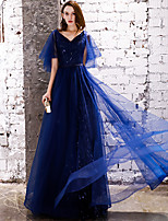 Недорогие -А-силуэт V-образный вырез В пол Тюль Выпускной Платье с Пайетки от LAN TING Express