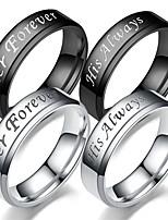 Недорогие -Для пары Кольцо Хвост 1шт Черный Серебряный Титановая сталь Круглый Винтаж Классический Мода обещание Бижутерия Корона