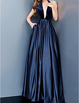 cheap -A-Line Halter Neck Sweep / Brush Train Stretch Satin Open Back Formal Evening Dress with Pleats by LAN TING Express