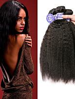 Недорогие -3 Связки Бразильские волосы Вытянутые Не подвергавшиеся окрашиванию Необработанные натуральные волосы Человека ткет Волосы Удлинитель Пучок волос 8-28 дюймовый Естественный цвет