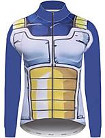 Недорогие -21Grams Жемчуг дракона Муж. Длинный рукав Велокофты - Морской синий Велоспорт Джерси Верхняя часть Устойчивость к УФ Дышащий Влагоотводящие Виды спорта 100% полиэстер Горные велосипеды Одежда