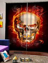 Недорогие -тайский стиль счастливый Хэллоуин тема горящий череп фон шторы утолщение плотные шторы для спальни / гостиной