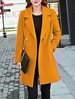 Недорогие -Жен. Повседневные Уличный стиль Большие размеры Длинная Пальто, Однотонный Рубашечный воротник Длинный рукав Полиэстер Черный / Красный / Желтый