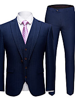 cheap -Tuxedos Tailored Fit Slim Notch Single Breasted One-button Polyester Stripes / Fashion