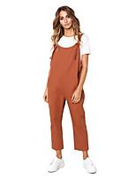Недорогие -Жен. Классический Оранжевый Комбинезоны, Однотонный Шнуровка S M L