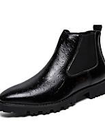 Недорогие -Муж. Кожаные ботинки Синтетика Весна / Осень Ботинки Дышащий Черный / Коричневый