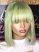 Недорогие -Парики из натуральных волос на кружевной основе Естественные прямые Стиль Средняя часть Без шапочки-основы Парик Мятно-зелёный Искусственные волосы 6 дюймовый Жен. Женский Зеленый Парик Короткие