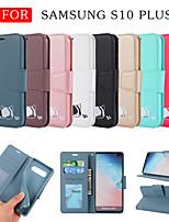 Недорогие -Кейс для Назначение SSamsung Galaxy Galaxy S10 Plus Кошелек / Бумажник для карт / со стендом Чехол Однотонный / Кот / Мультипликация Кожа PU