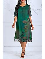 Недорогие -Знак шелковое платье высокого класса весной новые женские большие ярды потерять 100% шелковое платье печати был тонкий