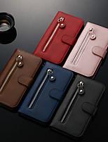 Недорогие -чехол для яблока iphone xs / iphone xr / iphone xs max кошелек / держатель карты / с подставкой для всего тела чехлы из искусственной кожи сплошного цвета для iphone x 8 плюс 7 плюс 6 плюс 8 7 6s