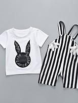 Недорогие -Дети (1-4 лет) Мальчики Классический Мультипликация С принтом С короткими рукавами Обычный Обычная Набор одежды Белый