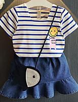 Недорогие -Дети (1-4 лет) Девочки Активный Повседневные Полоски Геометрический принт С принтом С короткими рукавами Обычный Набор одежды Белый