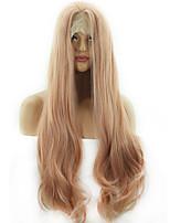 Недорогие -Синтетические кружевные передние парики Естественные кудри Loose Curl Стиль Ассиметричная стрижка Лента спереди Парик Розовый Розовый + Красный Искусственные волосы 24 дюймовый Жен.