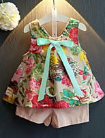 Недорогие -Дети (1-4 лет) Девочки Активный Повседневные Цветочный принт С принтом Без рукавов Обычный Набор одежды Зеленый