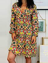 Недорогие -Жен. Оболочка Платье - Геометрический принт Выше колена