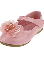 cheap -Girls' Flats Comfort / Flower Girl Shoes / Children's Day Leather Little Kids(4-7ys) / Big Kids(7years +) Buckle / Flower White / Black / Pink Spring / Fall / Party & Evening