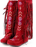 Недорогие -Жен. Ботинки На плоской подошве Круглый носок Замша Наступила зима Черный / Желтый / Красный