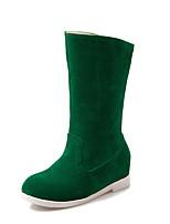 Недорогие -Жен. Ботинки На плоской подошве Круглый носок Замша Сапоги до середины икры Минимализм Наступила зима Черный / Зеленый / Миндальный