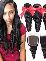 Недорогие -3 комплекта с закрытием Бразильские волосы Свободные волны Не подвергавшиеся окрашиванию человеческие волосы Remy Головные уборы Человека ткет Волосы Удлинитель 8-20 дюймовый Естественный цвет