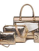cheap -Women's PU(Polyurethane) Bag Set Crocodile 4 Pieces Purse Set Black / Gold / Blue