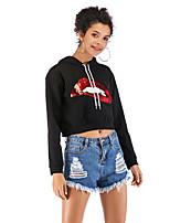 cheap -Women's Daily Cropped Hoddie Print Basic Hoodies Sweatshirts  Black