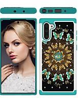 Недорогие -Кейс для Назначение SSamsung Galaxy Note 9 / Galaxy Note 10 / Galaxy Note 10 Plus Защита от удара / Стразы / С узором Кейс на заднюю панель Бабочка ТПУ / ПК