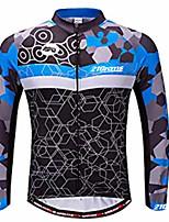 Недорогие -21Grams Муж. Длинный рукав Велокофты Синий и черный Велоспорт Джерси Верхняя часть Устойчивость к УФ Дышащий Влагоотводящие Виды спорта 100% полиэстер Горные велосипеды Шоссейные велосипеды Одежда