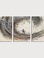 Недорогие -Hang-роспись маслом Ручная роспись - Абстракция Modern Включите внутренний каркас / 3 панели
