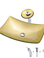 Недорогие -умывальник для ванной / смеситель для ванной / монтажное кольцо для ванной Современный / Античный - Закаленное стекло Прямоугольный Vessel Sink