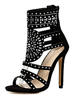 cheap -Women's Boots Stiletto Heel Open Toe Rhinestone Synthetics Mid-Calf Boots Sweet / Minimalism Fall / Spring & Summer Black / Green / Party & Evening