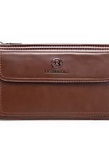 cheap -Men's Zipper PU Clutch Solid Color Black / Brown