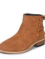 Недорогие -Жен. Ботинки На низком каблуке Круглый носок Замша Ботинки Лето Темно-серый / Светло-серый / Оранжевый