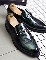 Недорогие -Муж. Официальная обувь Кожа Весна лето / Наступила зима Английский Мокасины и Свитер Нескользкий Черный / Красный / Синий