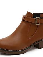 Недорогие -Жен. Ботинки На низком каблуке Круглый носок Полиуретан Ботинки Наступила зима Черный / Желтый / Серый